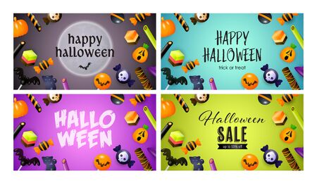 Happy Halloween blue, violet banner set with candies. Halloween, October, trick or treat. Lettering can be used for greeting cards, invitations, announcements