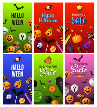 Halloween red, green, blue banner set with balloons, sweets. Halloween, October, trick or treat. Lettering can be used for greeting cards, invitations, announcements