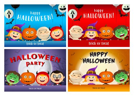 Happy Halloween orange, red, blue banner set with monsters. Halloween, October, trick or treat. Lettering can be used for greeting cards, invitations, announcements Stock Vector - 131288069