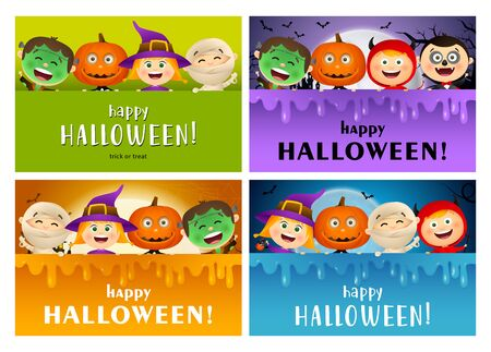 Happy Halloween green, violet, orange banner set with monsters. Halloween, October, trick or treat. Lettering can be used for greeting cards, invitations, announcements Illusztráció