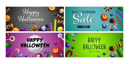 Happy Halloween blue, green banner set with candies. Halloween, October, trick or treat. Lettering can be used for greeting cards, invitations, announcements