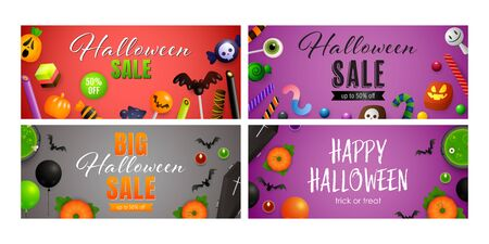 Happy Halloween red, violet banner set with candies. Halloween, October, trick or treat. Lettering can be used for greeting cards, invitations, announcements Illustration