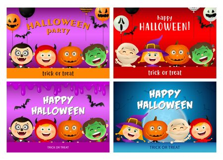 Happy Halloween purple, red, blue banner set with monsters. Halloween, October, trick or treat. Lettering can be used for greeting cards, invitations, announcements