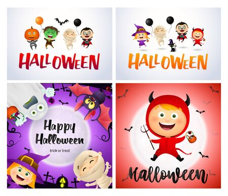 Halloween white, red, violet banner set with monsters. Halloween, October, trick or treat. Lettering can be used for greeting cards, invitations, announcements