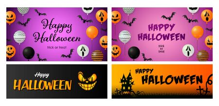 Happy Halloween purple banner set with bats and balloons. Halloween, October, trick or treat. Lettering can be used for greeting cards, invitations, announcements Stock Vector - 131288552