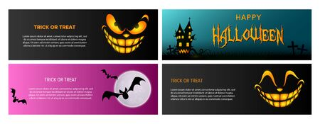 Trick or treat black, blue, pink banner set with castle. Halloween, October, trick or treat. Lettering can be used for greeting cards, invitations, announcements