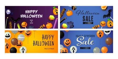Happy Halloween blue banner set with candies and balloons. Halloween, October, trick or treat. Lettering can be used for greeting cards, invitations, announcements Stock Illustratie
