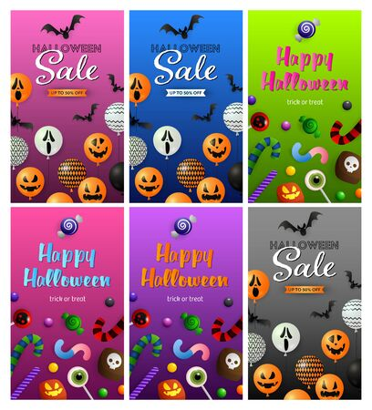 Halloween sale pink, green banner set with sweets, balloons. Halloween, October, trick or treat. Lettering can be used for greeting cards, invitations, announcements