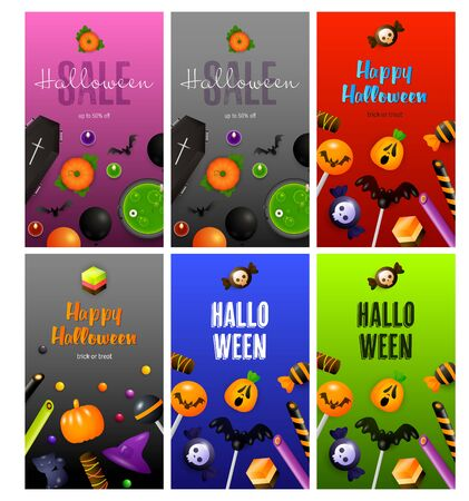Halloween purple, blue, red banner set with sweets, coffin. Halloween, October, trick or treat. Lettering can be used for greeting cards, invitations, announcements Illustration
