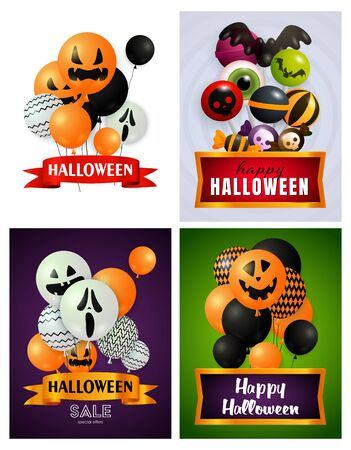 Halloween white, violet, green banner set with balloons, sweets. Halloween, October, trick or treat. Lettering can be used for greeting cards, invitations, announcements Illustration