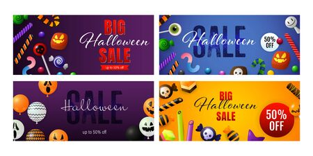 Happy Halloween violet banner set with candies and balloons. Halloween, October, trick or treat. Lettering can be used for greeting cards, invitations, announcements Stock Illustratie
