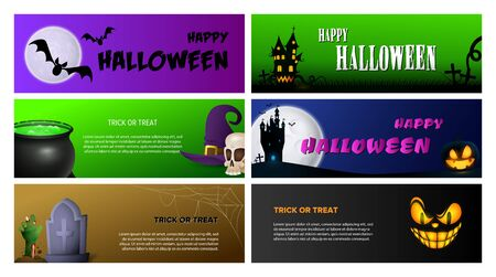 Happy Halloween violet, black, green banner set with pumpkins. Halloween, October, trick or treat. Lettering can be used for greeting cards, invitations, announcements