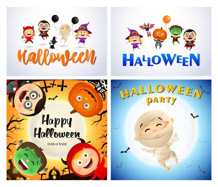 Halloween party yellow, white banner with monsters. Halloween, October, trick or treat. Lettering can be used for greeting cards, invitations, announcements