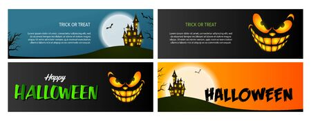 Trick or treat black, blue, orange banner set with castle. Halloween, October, trick or treat. Lettering can be used for greeting cards, invitations, announcements Illustration