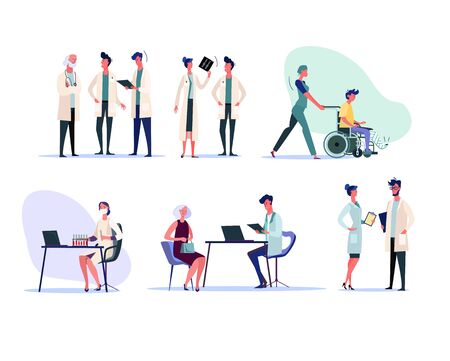 Medical professionals set. Doctors studying x-ray, talking to patient, working in lab. People concept. Vector illustration for topics like hospital, medicine, first aid Illusztráció
