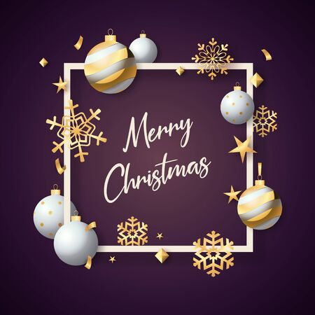 Merry Christmas in frame with white balls on violet ground. Lettering can be used for invitations, post cards, announcements Ilustração