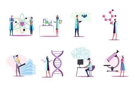Men and women in white coats working in lab set. Doing research, standing near molecule model, microscope, circuit board. Science concept. Vector illustration for posters, presentations, landing pages Ilustracja