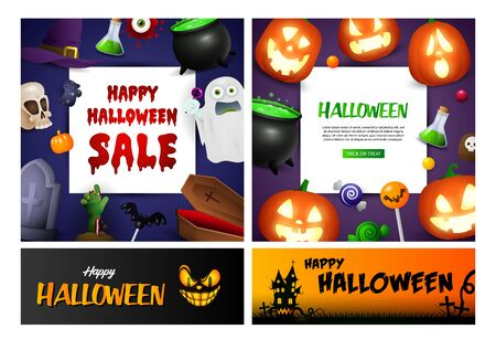 Happy Halloween blue, black banner set with poison, pumpkins. Halloween, October, trick or treat. Lettering can be used for greeting cards, invitations, announcements