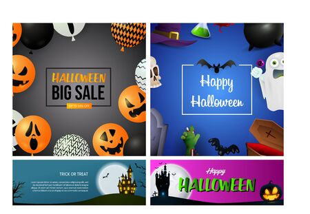 Halloween sale grey, blue banner set with balloons, monsters. Halloween, October, trick or treat. Lettering can be used for greeting cards, invitations, announcements