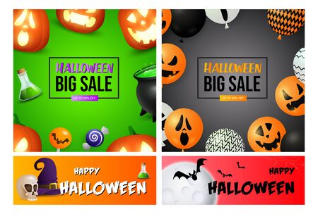 Halloween sale green, orange banner set with balloons, skull. Halloween, October, trick or treat. Lettering can be used for greeting cards, invitations, announcements