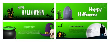 Happy Halloween green banner set with castle, poison. Halloween, October, trick or treat. Lettering can be used for greeting cards, invitations, announcements