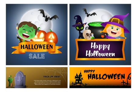 Halloween sale blue, brown banner set with monsters. Halloween, October, trick or treat. Lettering can be used for greeting cards, invitations, announcements