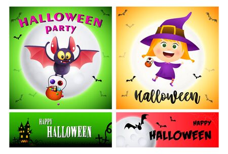 Halloween party green, yellow banner set with witch. Halloween, October, trick or treat. Lettering can be used for greeting cards, invitations, announcements