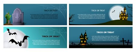 Trick or treat blue banner set with castle, grave. Halloween, October, trick or treat. Lettering can be used for greeting cards, invitations, announcements Illusztráció