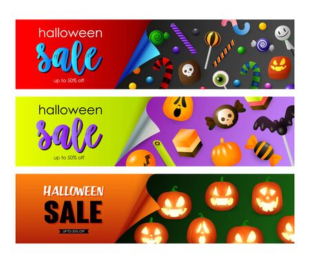 Halloween sale violet, green banner set with candies, pumpkins. Halloween, October, trick or treat. Lettering can be used for greeting cards, invitations, announcements Illusztráció
