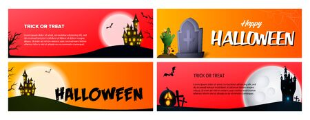 Happy Halloween orange, pink banner set with castle, grave. Halloween, October, trick or treat. Lettering can be used for greeting cards, invitations, announcements