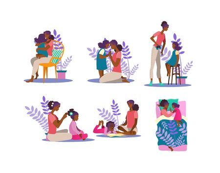 Motherhood illustration set. Woman and girl hugging, reading book, spending time together. Family concept. Vector illustration for topics like mother, daughter, affection