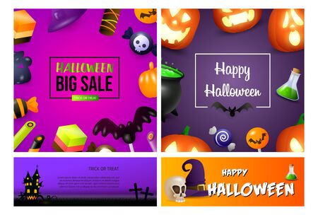 Halloween sale purple banner set with candies. Halloween, October, trick or treat. Lettering can be used for greeting cards, invitations, announcements