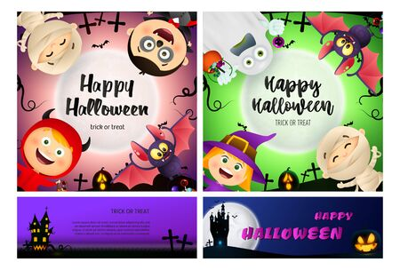 Happy Halloween pink, green banner set with monsters. Halloween, October, trick or treat. Lettering can be used for greeting cards, invitations, announcements Иллюстрация