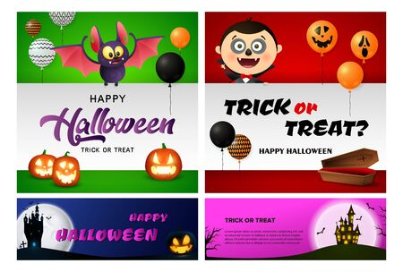 Trick or treat blue, red banner set with vampire, castle. Halloween, October, trick or treat. Lettering can be used for greeting cards, invitations, announcements Иллюстрация