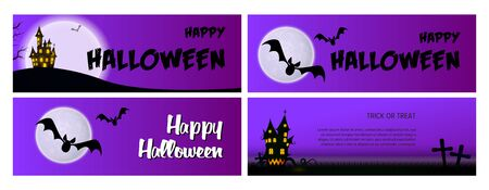 Happy Halloween violet banner set with castle, moon. Halloween, October, trick or treat. Lettering can be used for greeting cards, invitations, announcements