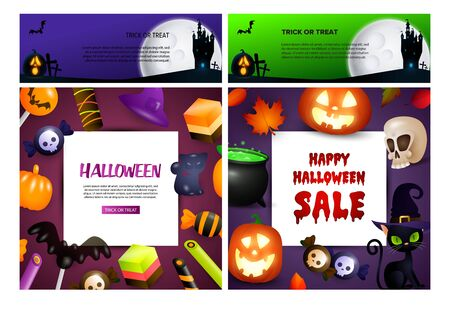 Trick or treat green, violet banner set with candies, cat. Halloween, October, trick or treat. Lettering can be used for greeting cards, invitations, announcements