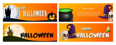 Happy Halloween orange banner set with castle, poison. Halloween, October, trick or treat. Lettering can be used for greeting cards, invitations, announcements