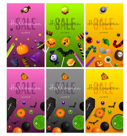 Halloween purple, gray, orange banner set with sweets, coffin. Halloween, October, trick or treat. Lettering can be used for greeting cards, invitations, announcements