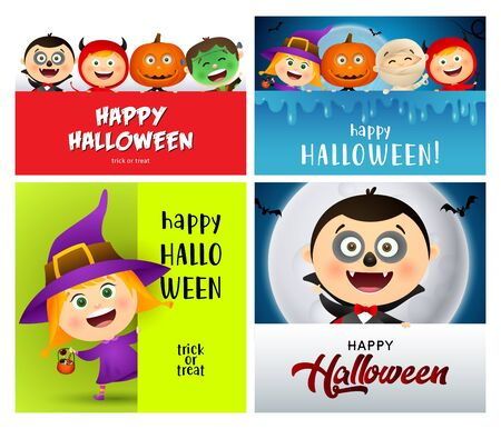 Halloween red, blue, green banner set with witch, vampire. Halloween, October, trick or treat. Lettering can be used for greeting cards, invitations, announcements