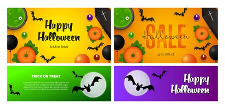 Happy Halloween orange, yellow banner set with bats, potion. Halloween, October, trick or treat. Lettering can be used for greeting cards, invitations, announcements Illustration