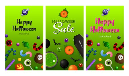 Halloween sale green banner set. Bat, coffin, pumpkin, sweets. Lettering can be used for greeting cards, invitations, announcements