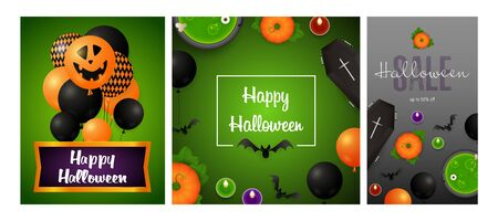 Happy Halloween gray, green banner collection with balloons. Bat, pumpkin, pot. Lettering can be used for greeting cards, invitations, announcements