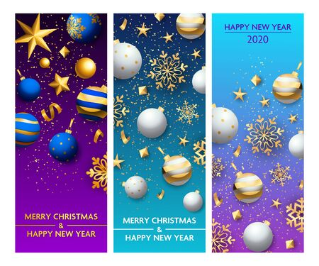 New Year violet, blue banner set with baubles. New Year, Christmas, winter. Calligraphy with decorative design can be used for invitations, post cards, announcements