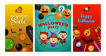 Halloween party banner collection with devil, witch, vampire. Bat, pumpkin, pot. Lettering can be used for greeting cards, invitations, announcements