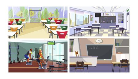 Modern school or college spaces vector illustration set. Canteen, gym, chemistry classroom interior with tables, desks, board, panoramic window. Education concept
