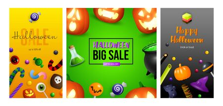 Halloween big sale orange, green, black banner set. Bat, pumpkin, pot. Lettering can be used for greeting cards, invitations, announcements
