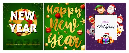New Year green, violet banner set with animals. New Year, Christmas, winter. Calligraphy with decorative design can be used for invitations, post cards, announcements