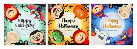 Halloween party banner set with various monsters. Bat, pumpkin, pot. Lettering can be used for greeting cards, invitations, announcements