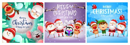 Merry Christmas green, violet, blue banner set with animals. New Year, Christmas, winter. Calligraphy with decorative design can be used for invitations, post cards, announcements