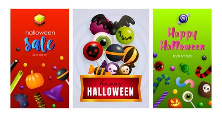 Happy Halloween red, green banner collection. Bat, pumpkin, pot. Lettering can be used for greeting cards, invitations, announcements